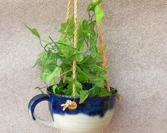 Hanging planter teacup flower pot hand thrown in stoneware ...fully weatherproof