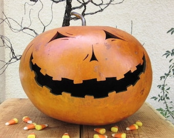 Halloween Gourd Large Jack O Lantern Primitive Pumpkin Decoration ( with removable top )