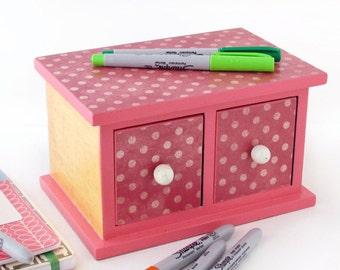 Mini Chest of Drawers with white knobs - Decoupaged Mini dotted Jewelry Box Organizer - Dorm Decor storage / Jewelry Box