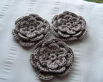 Crochet flower 3 inch pima cotton gray motif set of3