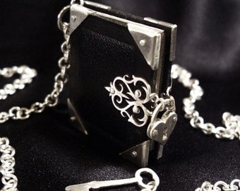 Leather and Silver Book Locket Necklace with Heart Padlock and Key - BOOK OF SECRETS