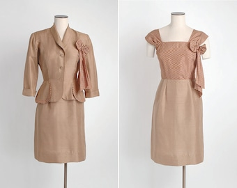 1940s vintage brown silk polka dot suit dress + jacket * great pockets and removable bow corsage 5S916
