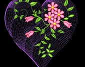 HEARTS OF LOVE #8- 1 Machine Embroidery Design Instant Download 4x4 5x7 6x10 hoop (AzEB)