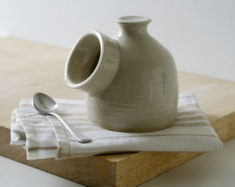 Minature pottery salt pig for your kitchen - wheel thrown and glazed in simply clay
