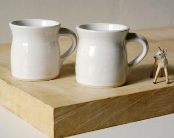 Pottery espresso cups - a handmade set of two in brilliant white