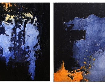 """Abstract Acrylic Painting Diptych - """"Day Breaks & Night Falls"""""""