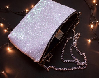 Party clutch purse - iridescent, pastel, kawaii - glitter sparkle purse, going out bag