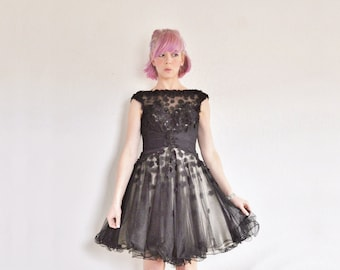 sheer black illusion party dress . flower cut out appliques .extra small.xs .sale
