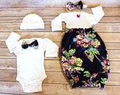 Mom & Baby Pkg in Adalayde - Maternity Hospital Gown and PERSONALIZED Baby Girl Gown OR Baby BOY Cap - Perfect for Nursing