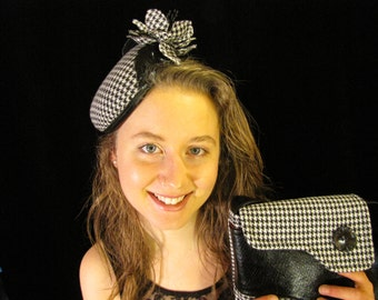 Black and White Hounds tooth Hat and Bag, OOAK Black and White Fasciantor and Bag, New B&W Fascinator and Bag