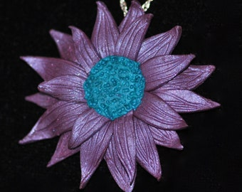 Handmade Purple Flower Necklace ~ Daisy style with blue center ~ Sterling Silver Chain