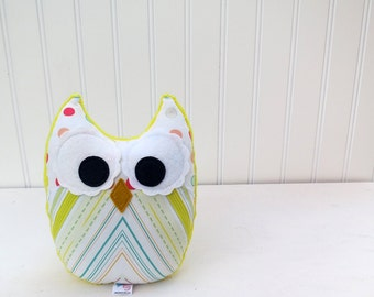 Plush Owl Yellow Teal Green Coral Stuffed Animal Nursery Decor Ready to Ship