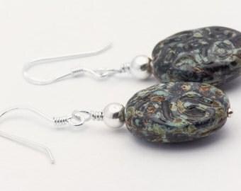 Boho Black Earrings | Black Czech Glass Earrings | Black Glass Earrings | Sterling Silver Earrings | Czech Glass Drops | Fishhook - EA00454