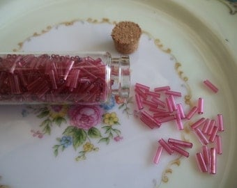 Vintage Glass Bugle Beads in Glass Corked Tube
