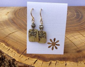 Recycled brass earrings with silver butterflies