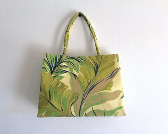 50's Top Handle Purse / Green Tropical Handbag / Palm Fronds Bag / Rockabilly Vintage Pocketbook / Vintage Fabric Purse / Mod Swing Handbag
