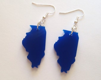 Illinois Shape Earrings - Dark Blue Acrylic Plastic State Jewelry