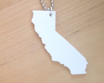 State Necklace, California Shape Jewelry in White Opaque Acrylic
