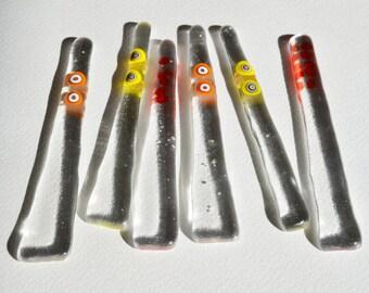 6 pcs Glass coctail spoons