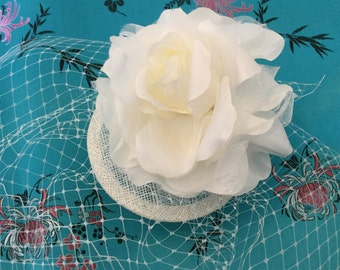 Ivory rose fascinator, birdcage veil.