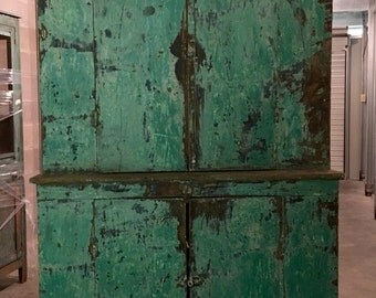 Primitive Green Painted one piece Stepback Cabinet 12d17d43w79h Shipping is Not Free