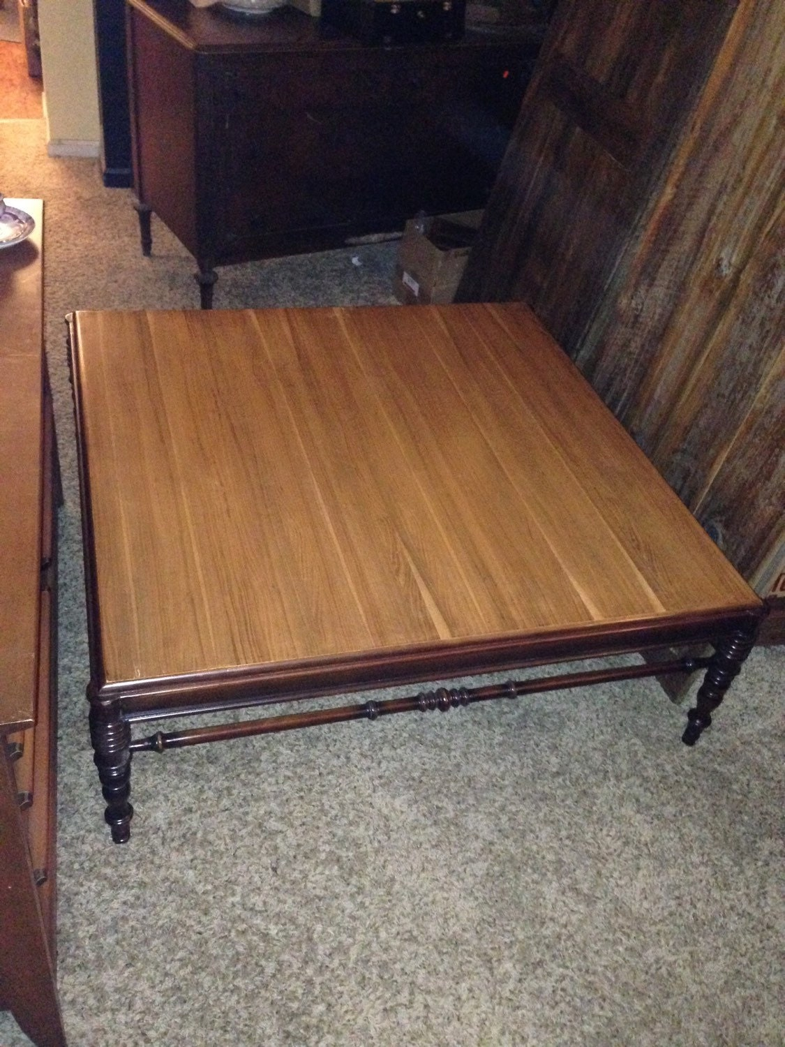 Custom Mixed Wood Coffee Table Turned Legs 48 X 48 Haute Juice