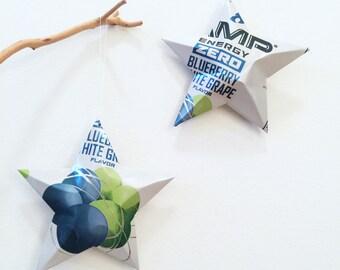 Amp Energy Zero Blueberry White Grape Stars Christmas Ornaments Soda Can Upcycled  Blue White Green