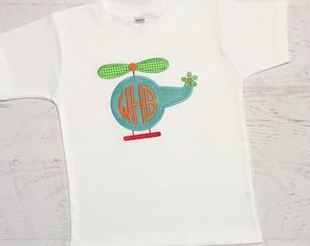 Helicopter Monogram Shirt - Initial Helicopter Bodysuit - Boy Applique Shirt - Transportation Shirt- Toddler Boy Clothing - Baby Boy Shirt