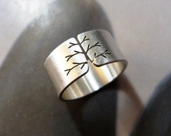 Autumn tree wide band silver ring, metalwork jewelry, matte, unisex ring, gift for him, birthday present, Mirma