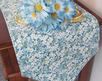 Blue Floral Table Runner 72 Inch Reversible Blue Table Runner Light Blue Flowers Table Runner Blue and Green Table Runner