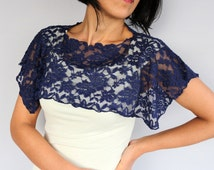 Navy Lace Shrug, Evening Cape, Bolero, Midnight Blue Lightweight, Evening Clothing, Dress Cover-up, Spring Fashion