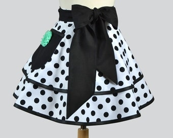 Womens Waist Aprons / Double Layered Black and White Polka Dots and Removable Aqua Flower in our Cute Flirty Retro Ruffled Half Apron