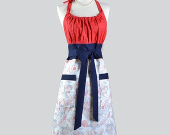 Cute Kitsch Retro Aprons - Red White Blue Americana Stitched Floral with Pocket Womans Cute Kitchen Chef Cooking Apron