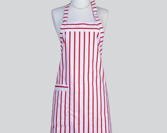 Reversible Chef Apron . Womens Kitchen Cooking Apron Red and White Stripes Womens Chef Full Kitchen Apron