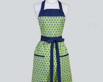 Full Bib  Womens Apron / Vintage Inspired Styling in Lime Green with Navy Blue Perfect for Personalization or Monogrammed