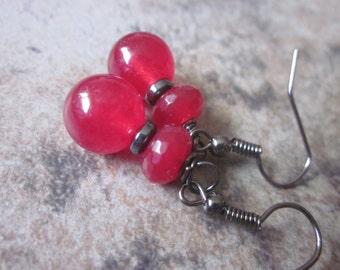 Ruby Quartz & Hematite Gemstone Earrings, Bight Red Quartz Crystal, Nickel-free Gunmetal Vibrant, Hostess Gift, Christmas Red, Philosophia
