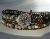 Fancy Jasper Beaded Leather Wrap Bracelet with Tree of Life Button