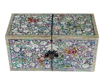Mother of Pearl Inlay Secret Butterfly Flower Lacquer Twin Cubic Wooden Jewelry Trinket Treasure Keepsake Chest Box Case Holder Organizer
