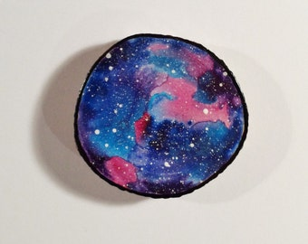 Galaxy 001 - Watercolour Painting on a Woodslice