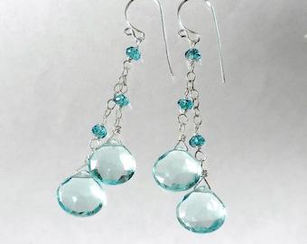 London Blue and Aquamarine Drop Earrings, Blue Drop Earrings, Sterling Silver