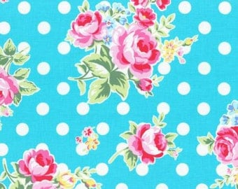 Flower Sugar 2015 Fall Collection Cotton Fabric Lecien 31268-71 Roses and Dots  Blue