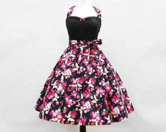 Small Pink & Blue 50's Rockabilly Dress Pin Up  Vintage Look