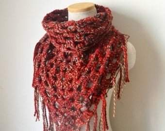 Crochet Triangle Fringe Cowl Scarf Neckwarmer in Red Wood