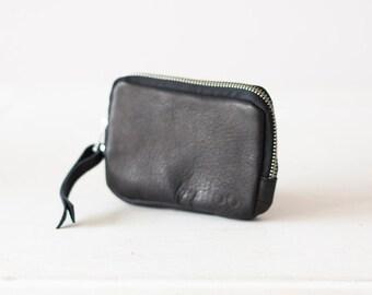 Zipper phone case black leather, coin purse zipper phone case money bag credit card purse- The Myrto Zipper pouch