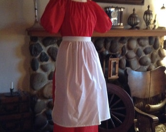 Colonial Dress Costume Civil War Pioneer Prairie Mop Hat Apron Short Sleeves Color and Size Choice