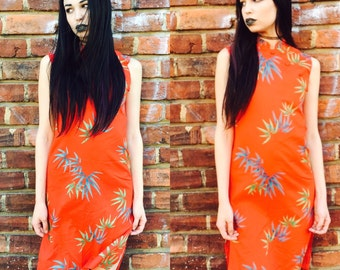 Red Floral Tropical Dress
