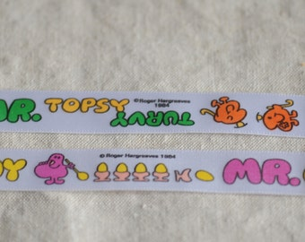 vintage Mr Men children's book ribbon, per yard