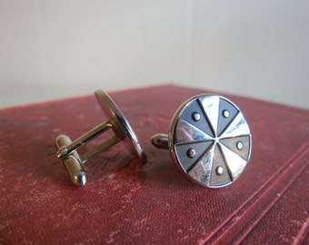 Vintage Mens SWANK Silver and Black Cuff Links