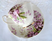 Vintage Royal Standard Fine Bone China Footed Cup and Saucer,England,Wistaria Pattern,1940s,Purple Flowers,Dining Serving, Tea/Coffee Bridal