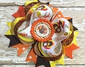 Thanksgiving Hair Bow, Turkey Hair Bow, baby headband, infant headband , newborn headband, Orange, adult headband